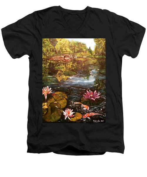 Men's V-Neck T-Shirt featuring the painting I Want To Be Where You Are by Belinda Low