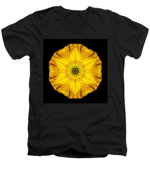 Iceland Poppy Flower Mandala Men's V-Neck T-Shirt by David J Bookbinder