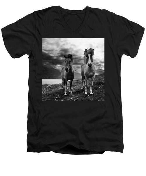 Men's V-Neck T-Shirt featuring the photograph Icelandic Horses by Frodi Brinks