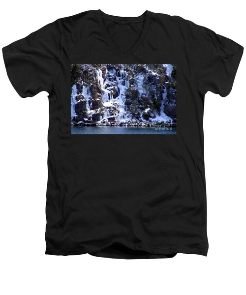 Men's V-Neck T-Shirt featuring the photograph Icicle House by Barbara Griffin