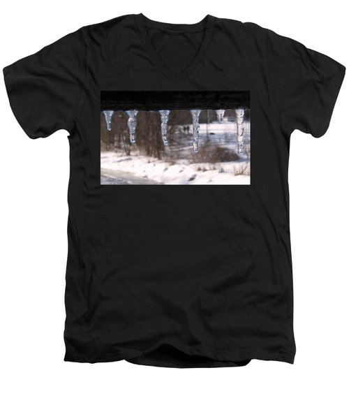 Men's V-Neck T-Shirt featuring the photograph Icicles On The Bridge by Nina Silver
