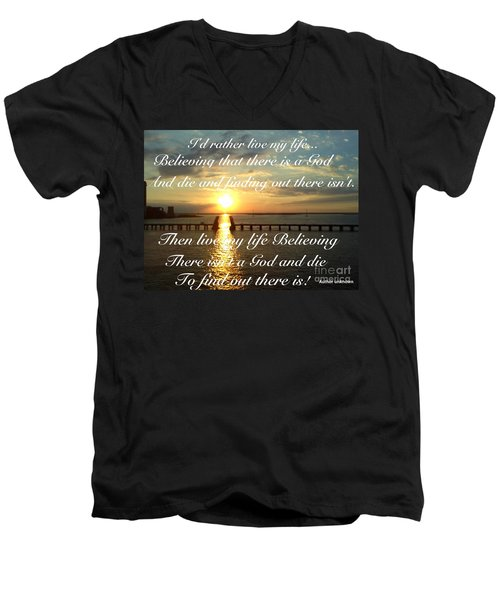 I'd Rather Live My Life Men's V-Neck T-Shirt by Becky Lupe