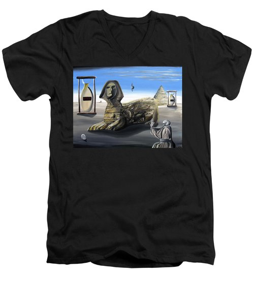 Men's V-Neck T-Shirt featuring the painting Idolatary Conformity by Ryan Demaree