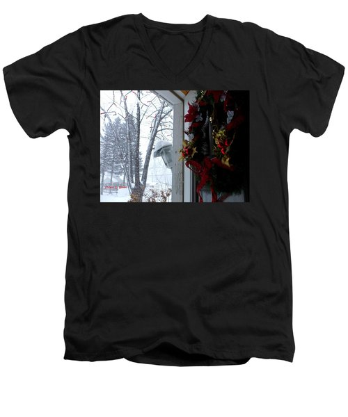 Men's V-Neck T-Shirt featuring the photograph I'll Be Home For Christmas by Shana Rowe Jackson