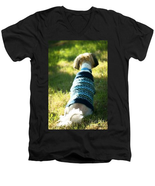 Men's V-Neck T-Shirt featuring the photograph I'll Be Waiting For You by Ellen Cotton