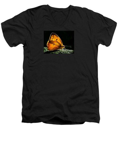 Illuminated Butterfly Men's V-Neck T-Shirt by Alice Cahill