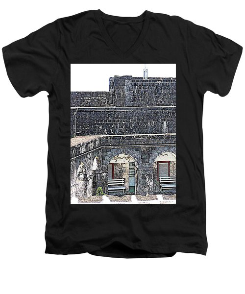 Fort Brimstone, St Kitts/nevis Men's V-Neck T-Shirt