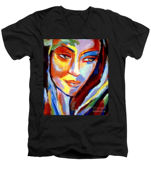 Men's V-Neck T-Shirt featuring the painting Immersed by Helena Wierzbicki