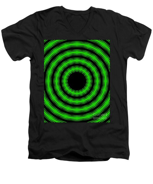 Men's V-Neck T-Shirt featuring the painting In Circles-green Version by Roz Abellera Art
