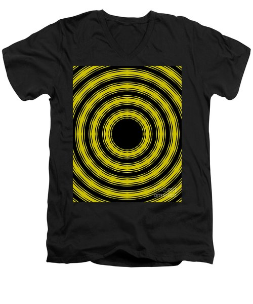Men's V-Neck T-Shirt featuring the painting In Circles- Yellow Version by Roz Abellera Art