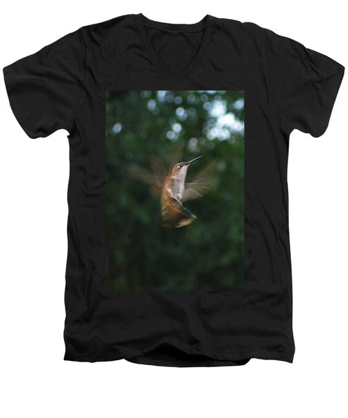 Men's V-Neck T-Shirt featuring the photograph In Flight by Photographic Arts And Design Studio