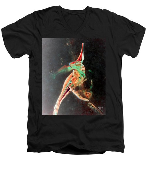 Men's V-Neck T-Shirt featuring the painting In Jest by Jacqueline McReynolds
