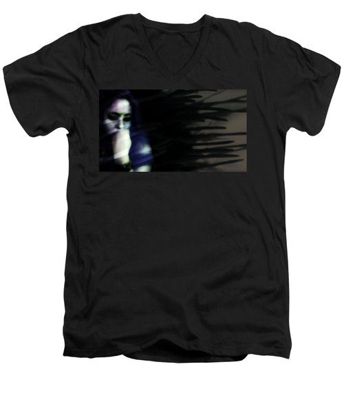 Men's V-Neck T-Shirt featuring the photograph In The Shadows Of Doubt  by Jessica Shelton