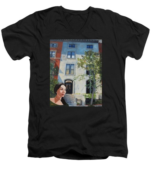 In The Way Of Spindrift Jan Bryant Bartell Men's V-Neck T-Shirt by Barbara Barber