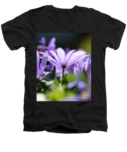 Floral Purple Light  Men's V-Neck T-Shirt
