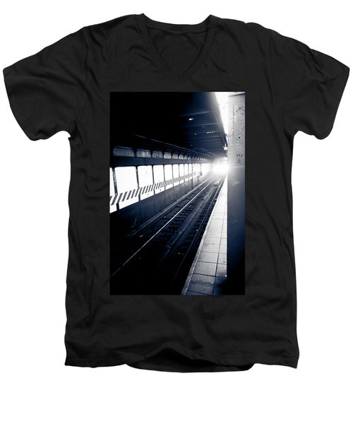 Men's V-Neck T-Shirt featuring the photograph Incoming At The Subway - New York City by Peta Thames