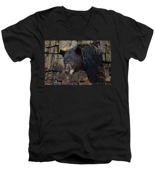 Inconspicuous Bear Men's V-Neck T-Shirt by Ed Hall