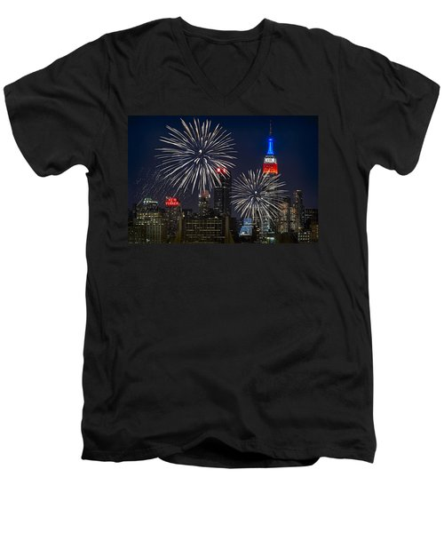 Independence Day Men's V-Neck T-Shirt by Eduard Moldoveanu