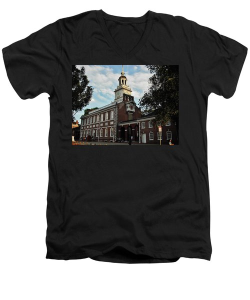 Independence Hall Men's V-Neck T-Shirt by Ed Sweeney