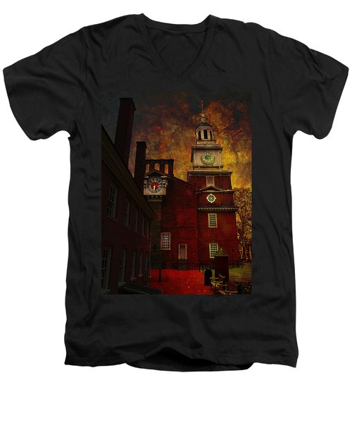 Independence Hall Philadelphia Let Freedom Ring Men's V-Neck T-Shirt by Jeff Burgess