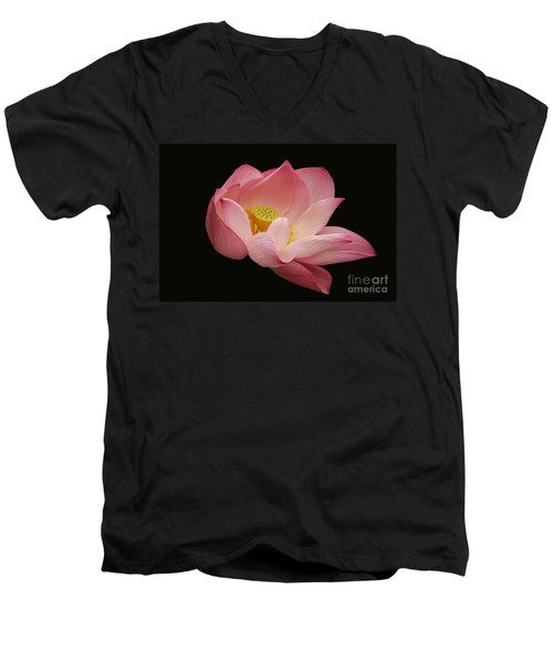 Indian Lotus On Black --- Sacred Light Men's V-Neck T-Shirt