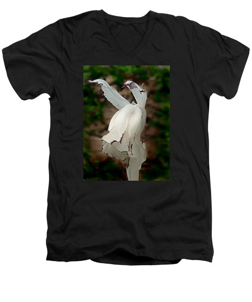 Indian Pipe Men's V-Neck T-Shirt by William Tanneberger