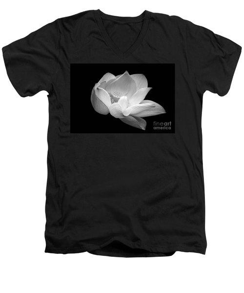 Indian Sacred Lotus In Black And White Men's V-Neck T-Shirt