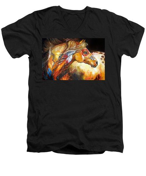 Indian War Horse Golden Sun Men's V-Neck T-Shirt