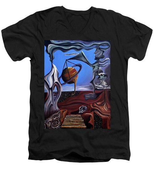 Men's V-Neck T-Shirt featuring the painting Infatuasilaphrene by Ryan Demaree