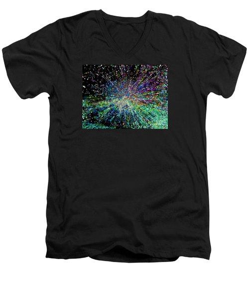 Men's V-Neck T-Shirt featuring the digital art Information Explosion by Mariarosa Rockefeller