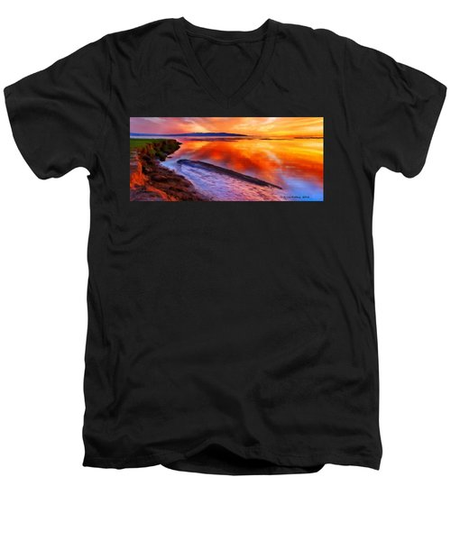 Men's V-Neck T-Shirt featuring the painting Inlet Sunset by Bruce Nutting