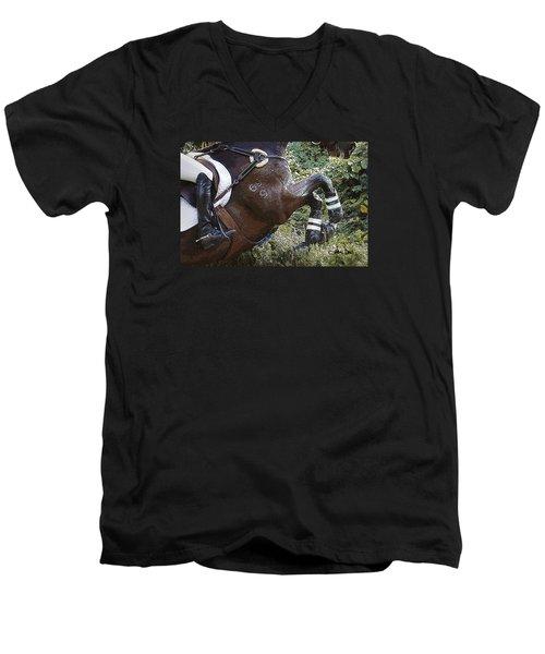 Men's V-Neck T-Shirt featuring the photograph Inmidair by Joan Davis