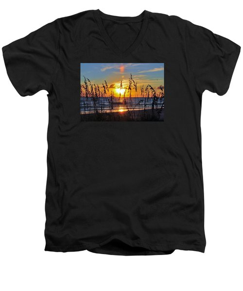 Men's V-Neck T-Shirt featuring the photograph Inside The Sunset by Kicking Bear  Productions