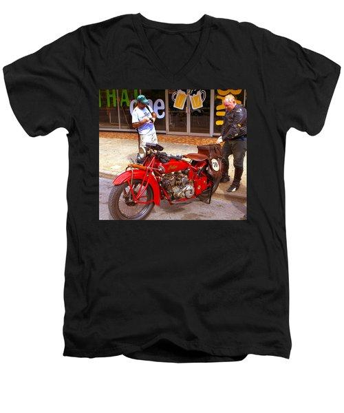 Inspecting Indian #70 Men's V-Neck T-Shirt