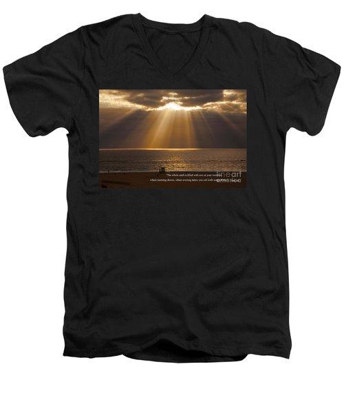 Inspirational Sun Rays Over Calm Ocean Clouds Bible Verse Photograph Men's V-Neck T-Shirt by Jerry Cowart