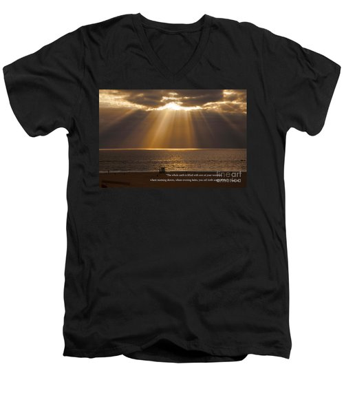 Inspirational Sun Rays Over Calm Ocean Clouds Bible Verse Photograph Men's V-Neck T-Shirt