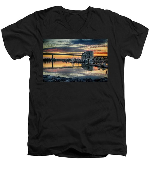 Intercoastal Waterway And The Wharf Men's V-Neck T-Shirt by Michael Thomas