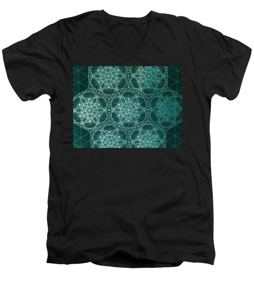 Men's V-Neck T-Shirt featuring the drawing Interference by Jason Padgett