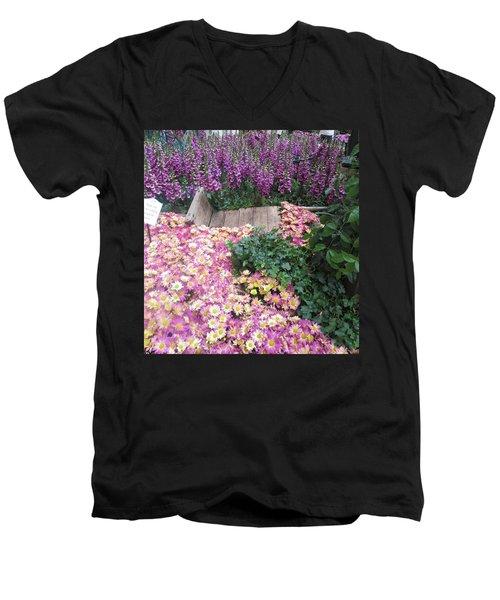 Men's V-Neck T-Shirt featuring the photograph Interior Decorations Butterfly Gardens Vegas Golden Yellow Purple Flowers by Navin Joshi