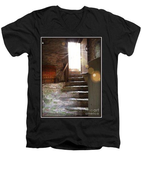 Men's V-Neck T-Shirt featuring the photograph Into The Light - The Ephrata Cloisters by Joseph J Stevens