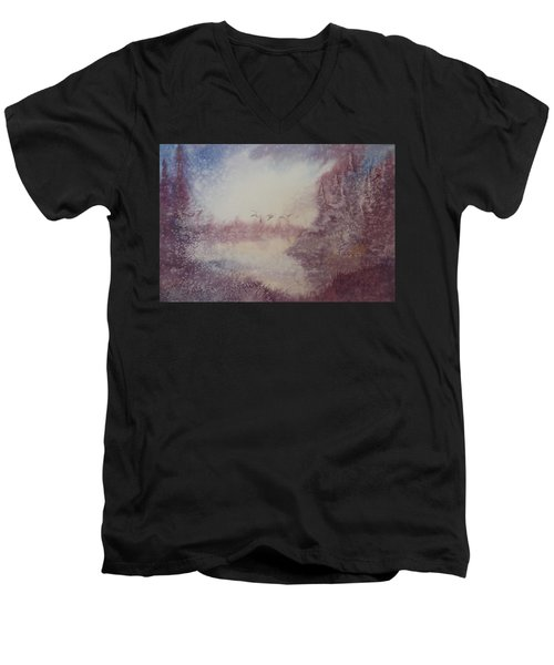 Men's V-Neck T-Shirt featuring the painting Into The Storm by Richard Faulkner