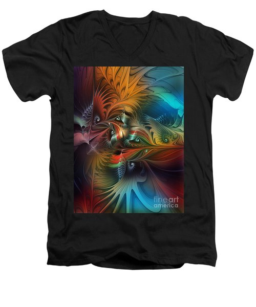 Intricate Life Paths-abstract Art Men's V-Neck T-Shirt