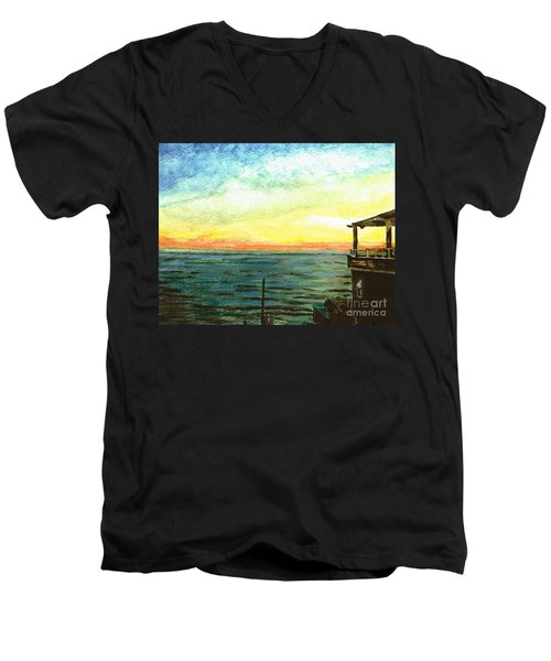 Men's V-Neck T-Shirt featuring the painting Ionian Sea Zanti Greek Island by Teresa White