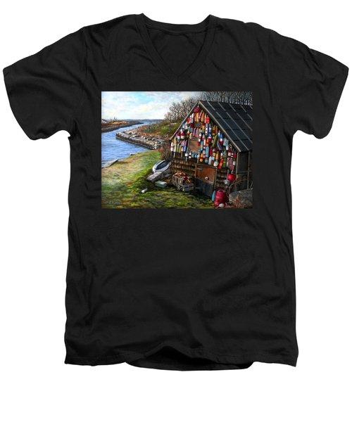 Ipswich Bay Wooden Buoys Men's V-Neck T-Shirt by Eileen Patten Oliver