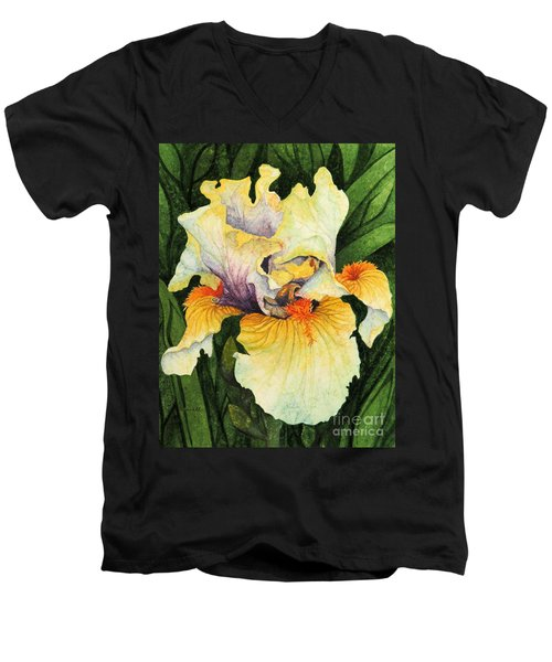 Men's V-Neck T-Shirt featuring the painting Iris Elegance by Barbara Jewell