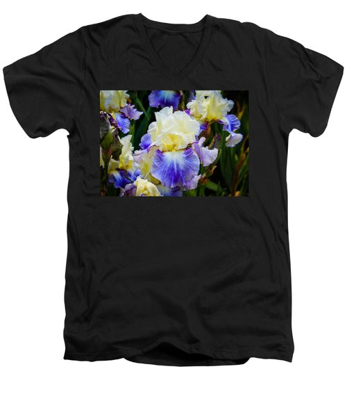 Men's V-Neck T-Shirt featuring the photograph Iris In Blue And Yellow by Patricia Babbitt