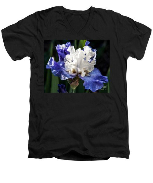 Men's V-Neck T-Shirt featuring the photograph Stairway To Heaven Iris by Roselynne Broussard