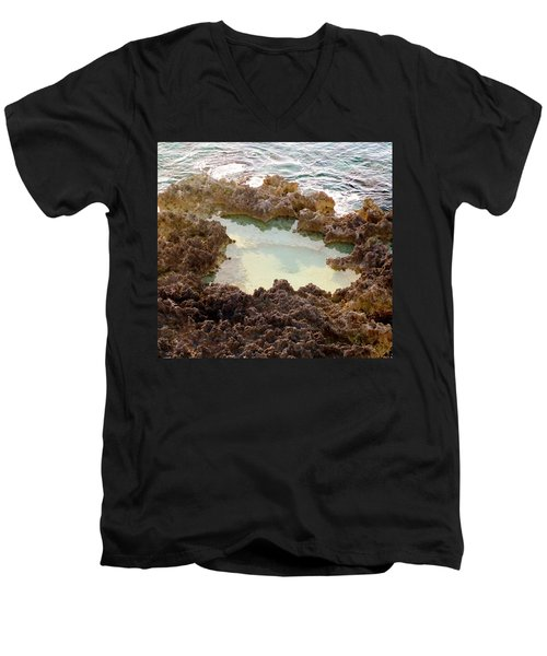 Men's V-Neck T-Shirt featuring the photograph Ironshore Tidewater Pool by Amar Sheow