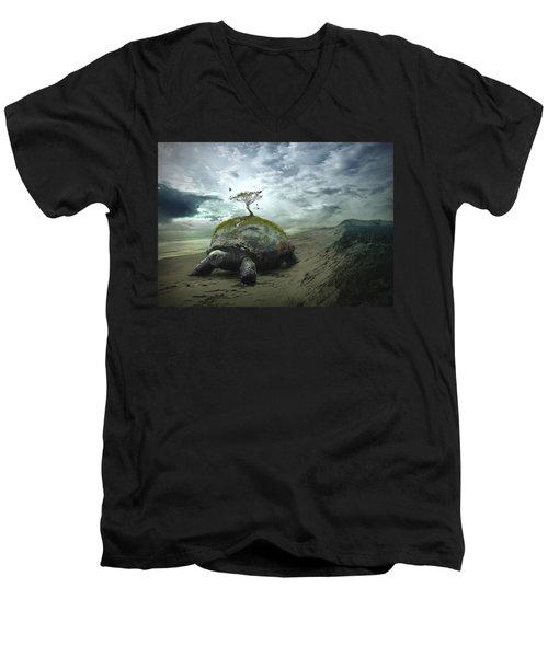 Iroquois Creation Story Men's V-Neck T-Shirt by Rick Mosher