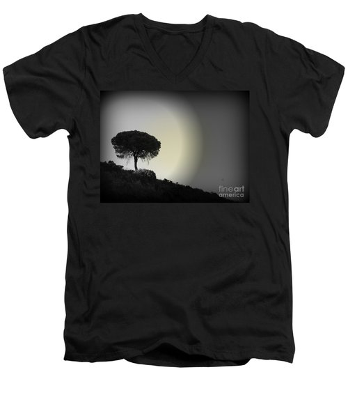 Isolation Tree Men's V-Neck T-Shirt by Clare Bevan